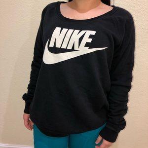 NIKE Sportswear Logo Black Scoop Neck Sweatshirt